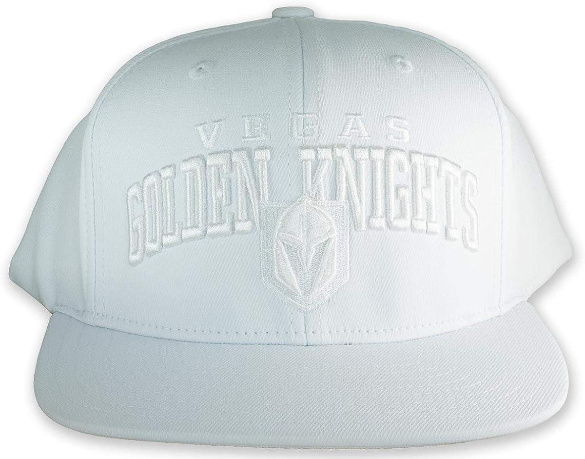 Vegas Golden Knights White on White Men's Flat Brim Snapback Hat 613qOwiaNBL