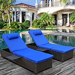 Garden and Outdoor Outdoor PE Wicker Chaise Lounge – 2 Piece Patio Black Rattan Reclining Chair Furniture Set Beach Pool Adjustable… outdoor lounge furniture