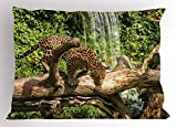 Ambesonne Safari Pillow Sham, Jaguar Cat on Tree Trunk Waterfall Endangered Species Wild Life Fast Animal, Decorative Standard Size Printed Pillowcase, 26 X 20 inches, Green Light Brown