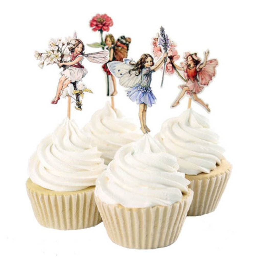 Dolland 24pcs Pretty Fairy Cupcake Toppers for Cake Decorations Baby Girls Children Kids Toddlers Teens Birthday Supplies Bridal Shower Wedding Favors