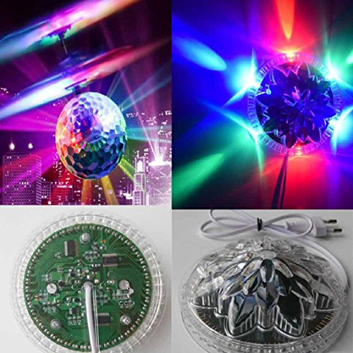 Disco Crystal Curtain (Naladoo Whirly Ball EpochAir Crystal Flashing LED Light Flying induction Disco Ball Built-In Shinning LED Lighting RC Flyjing Toys Ball)