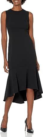 Calvin Klein Women's Sleevless High Low Flounce Hem Dress, red, 14