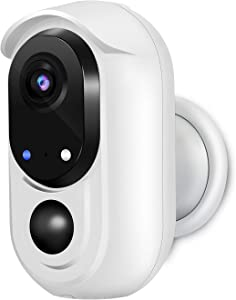 WOHOME Rechargeable Battery-Powered Security Camera,Outdoor/Indoor Wireless Camera with 1080P Night Vision,2 -Way Audio,IP65 Waterproof WiFi Camera with Cloud,Works with Alexa/Google (Without TF Card)