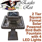 Hermitage 2 Tier Square Formal Solar Birdbath SBB013