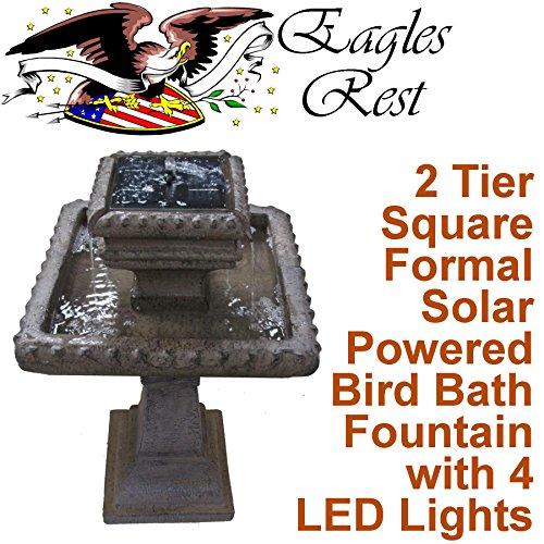 Hermitage 2 Tier Square Formal Solar Birdbath SBB013 by Patriot