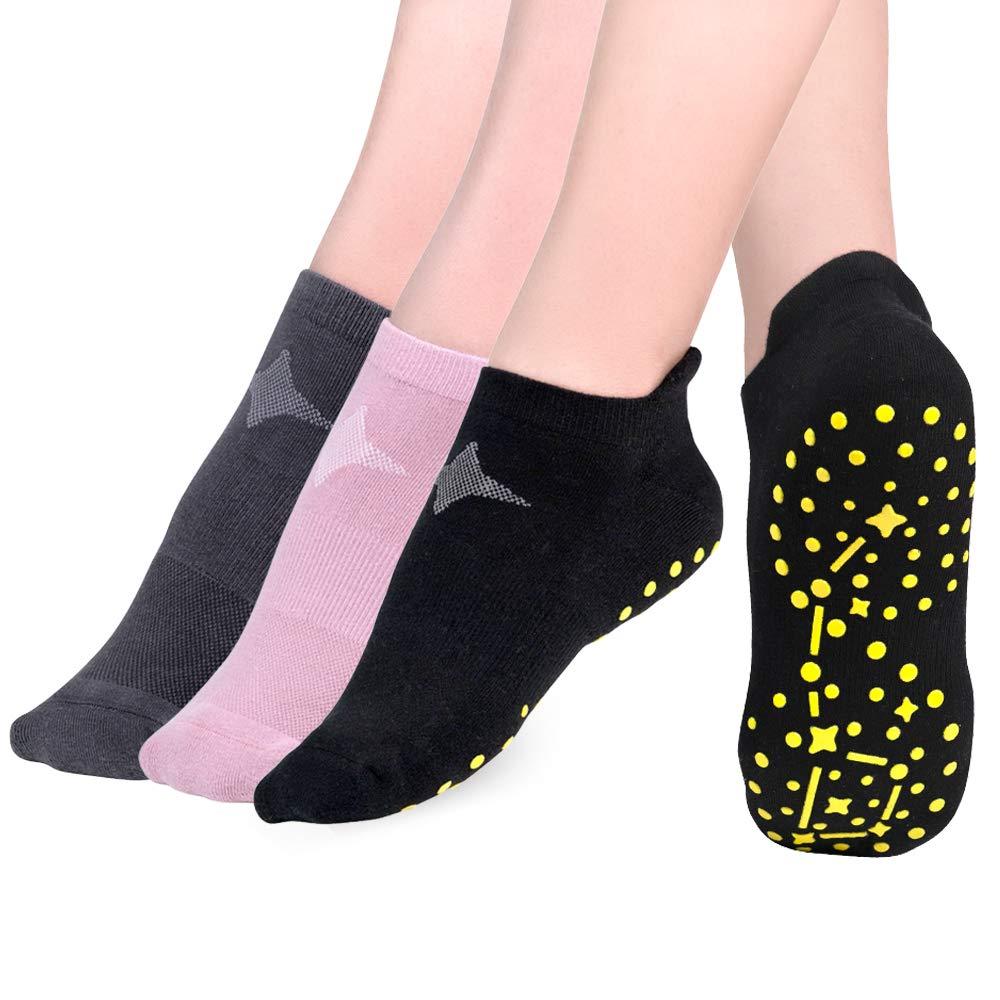 Time May Tell Non Slip Yoga Socks for Women Barre Pilates with Grips Moisture Wicking Cushion Hospital Socks 3 Pair
