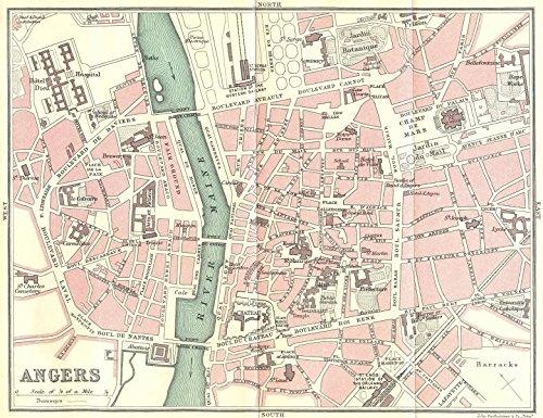 ANGERS town/city plan de la ville. Maine-et-Loire - 1914 - old map - antique map - vintage map - Maine-et-Loire maps (A Map Of Maine With Towns And Cities)