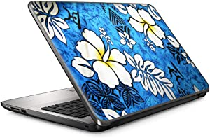"15 15.6 inch Laptop Notebook Skin Vinyl Sticker Cover Decal Fits 13.3"" 14"" 15.6"" 16"" HP Lenovo Apple Mac Dell Compaq Asus Acer/Blue Tropical Flowers Hibiscus Hawaiian Island Style"