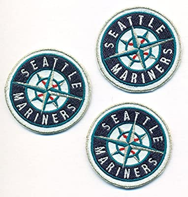 """Lot of 3 Seattle Mariners Logo Baseball MLB Embroidered Iron On Patches Hat Jersey 2"""""""