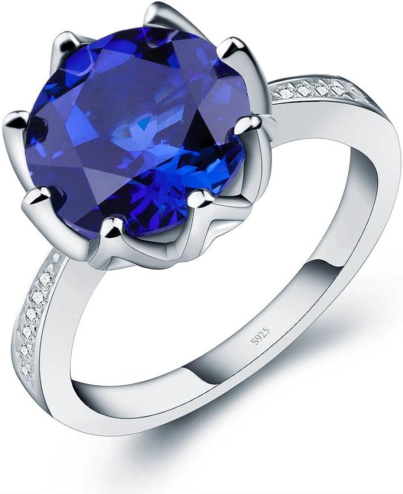 ANGG De las mujeres Redondo 4.8 ct Creado Zafiro azul Anillo de plata de ley 925