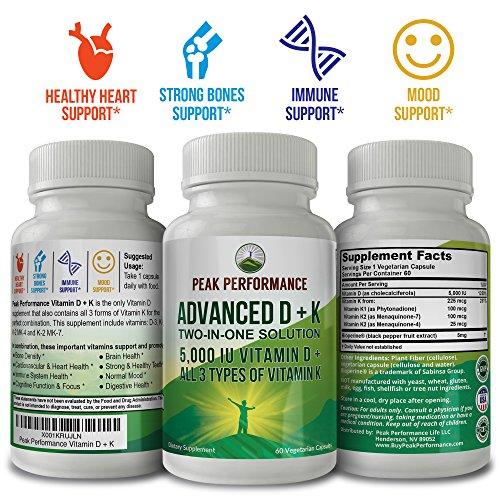 ADVANCED Vitamin D 5000 IU + ALL 3 Types Of Vitamin K By Peak Performance. Vitamin D3 and Vitamin K2 MK-7 (MK7) K2 MK4 K1 Supplement! 60 Small & Easy to Swallow Vegetable Capsules / Pills (5000 IU) by Peak Performance Coffee (Image #1)