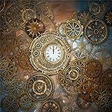 AOFOTO 10x10ft Retro Steampunk Backdrop Old Metal Gear Clock Vintage Cogwheels Photography Background Rusty Steam Machine Nostalgia Party Decoration Photo Studio Props Wallpaper Adult Man Woman Portra