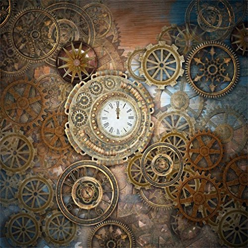 AOFOTO 7x7ft Retro Steampunk Backdrop Old Metal Gear Clock Vintage Cogwheels Photography Background Rusty Steam Machine Nostalgia Party Decoration Photo Studio Props Wallpaper Adult Man Woman Portrait