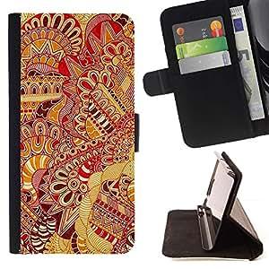 For Samsung Galaxy S6 Active G890A Case , Patrón Alfombra Roja Amarillo Oriental- la tarjeta de Crédito Slots PU Funda de cuero Monedero caso cubierta de piel