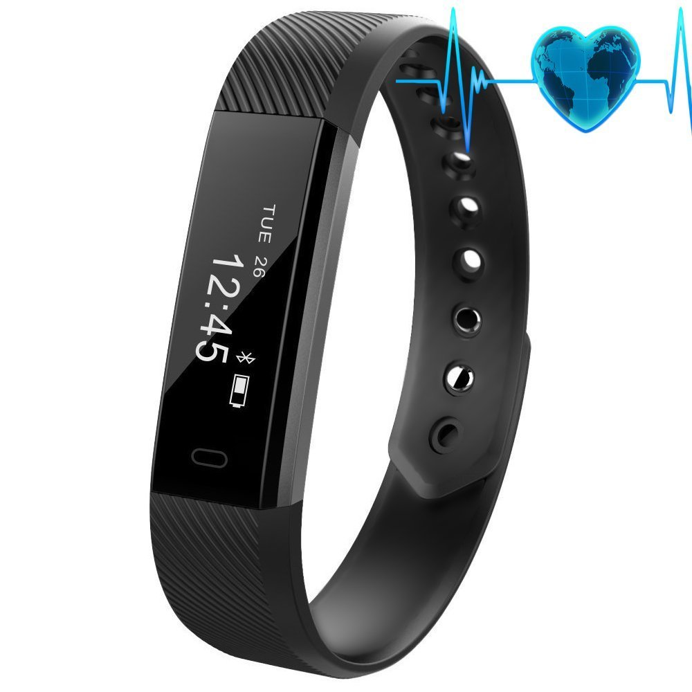 Fitness tracker、防水Activity Tracker with Heart Rate Monitor Bluetooth Smart Watchワイヤレススマートブレスレット睡眠監視歩数計リストバンドAndroidとiOSのスマートフォン B07D2BLD5G