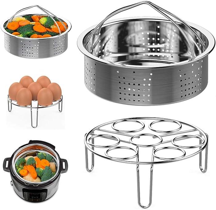 Steamer Basket and Egg Steamer Rack, Packism Stainless Steel Vegetable Steaming Trivet Holder Fit 5,6,8 qt Instant Pot Pressure Cooker Accessories Air Fryer Ninja Foodi, 2 Pack