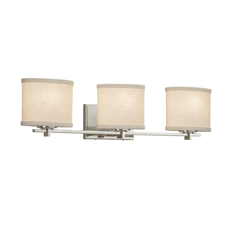 Justice Design Group Lighting FAB-8443-30-CREM-MBLK-LED3-2100 Textile Era LED 3-Light Bath Bar-Matte Black Finish with Woven Fabric Cream-Oval Shade