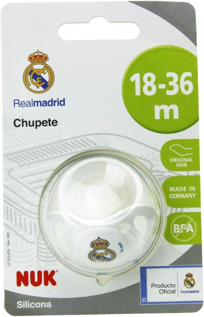 NUK Genius, Chupete del Real Madrid para Bebé Recién Nacido de Silicona con Tetina Anatómica en Forma de Pezón Materno. Producto Oficial. Color Blanco. 0 a 6 meses: Amazon.es: Bebé