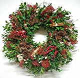 Cinnamon Berry And Boxwood Natural Holiday Wreath 20 Inch- Decorative Dried Flower Christmas Wreath That Will Freshen Up Your Holiday Décor, Grown And Made In USA, Measures True To Size