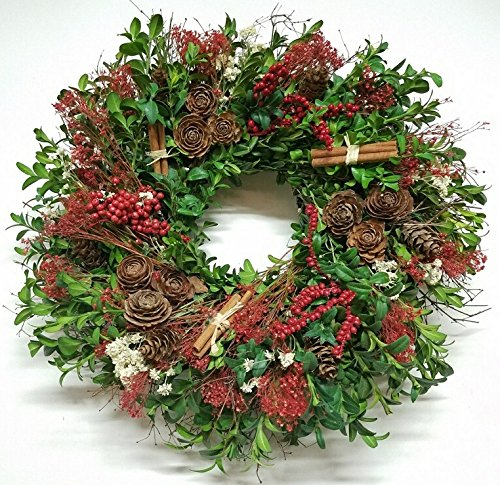 Cinnamon Berry And Boxwood Natural Holiday Wreath 20 Inch- Decorative Dried Flower Christmas Wreath That Will Freshen Up Your Holiday Décor, Grown And Made In USA, Measures True To - Christmas Flowers
