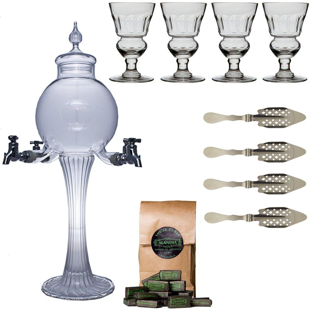 Absinthe Accessory Set Boule with 1x Absinthe Fountain/4x Absinthe Glasses/4x Absinthe Spoons/1x Absinthe Sugar Cubes - Drink Absinthe the original way -