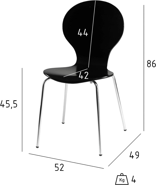 Ibbe Design 4er Set Schwarz Stapelbar Esszimmerstühle Stapelstühle Konferenzstühle Holzstühle Albert, Holzsitz, Metall Gestell, L52x B49x H86 cm