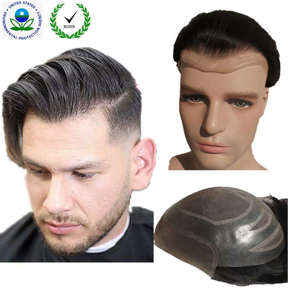 "Toupee for men Hair pieces for men N.L.W. European virgin human hair replacement system for men, 10"" x 8"" human hair toupee men hair piece. #1 Jet Black"
