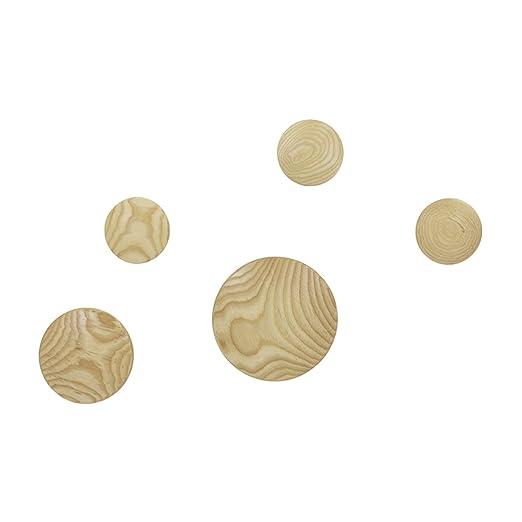 Vaukura Percheros de Pared Dots - Percheros de Madera (Madera Natural)