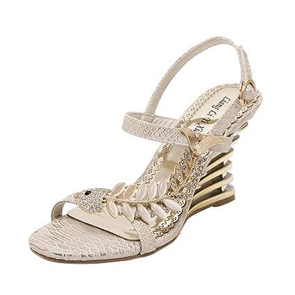 SHE.White - Zapatos para mujer con tacón en cuña y brillantes ...