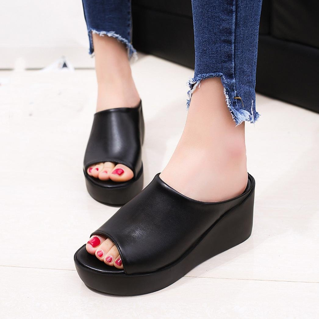 YANG-YI Clearance Women Summer Leisure Fish Mouth Sandals Thick Bottom Slippers