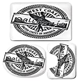3 Piece Bath Mat Rug Set,Ride-The-Wave,Bathroom Non-Slip Floor Mat,West-Coast-California-United-States-of-America-Grunge-Vintage-Stamp-Print-Decorative,Pedestal Rug + Lid Toilet Cover + Bath Mat,Grey-