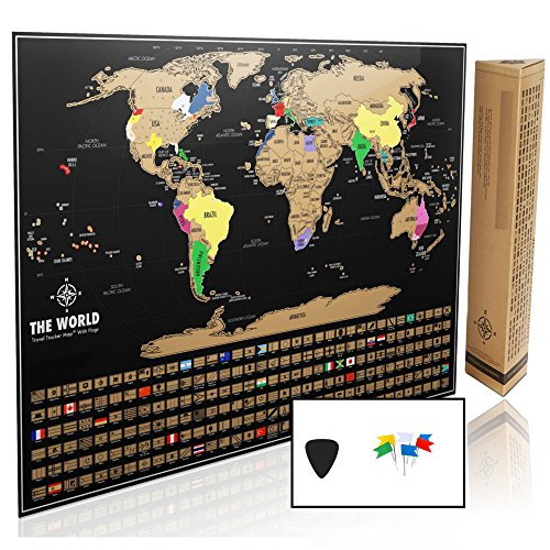 Kiffle co. Scratch Off Map Of The World Poster XL - US States and Every Country Flag, Track Your Travels. Includes FREE Scratcher. Perfect Gift for Travelers. 32 x 23in