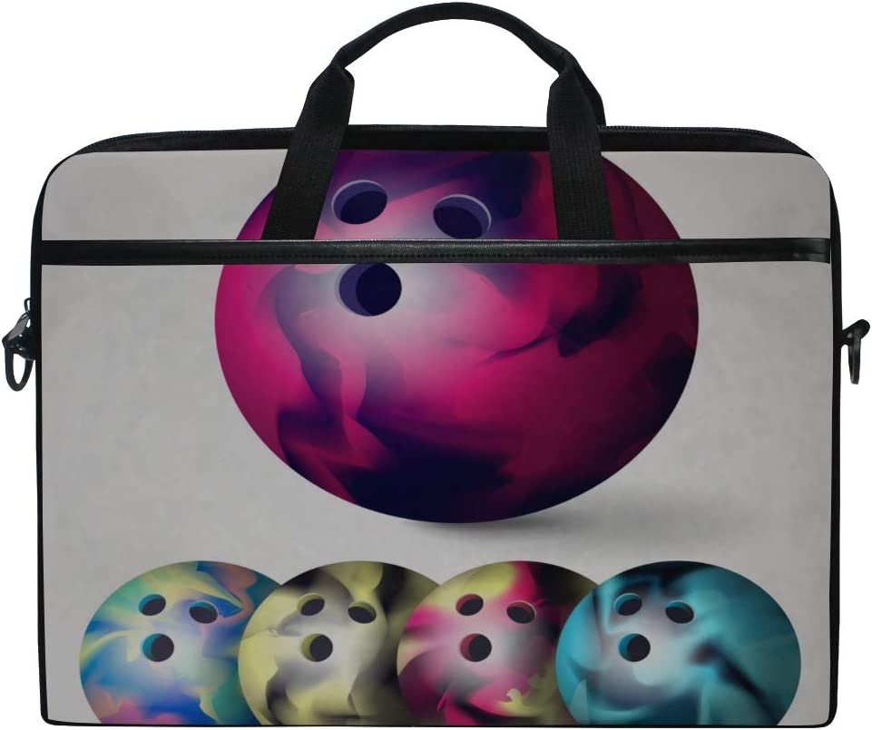 Briefcase Messenger Shoulder Bag for Men Women Laptop Bag Bowling Ball Set 3D Realistic 15-15.4 Inch Laptop Case College Students Business People Office Workers