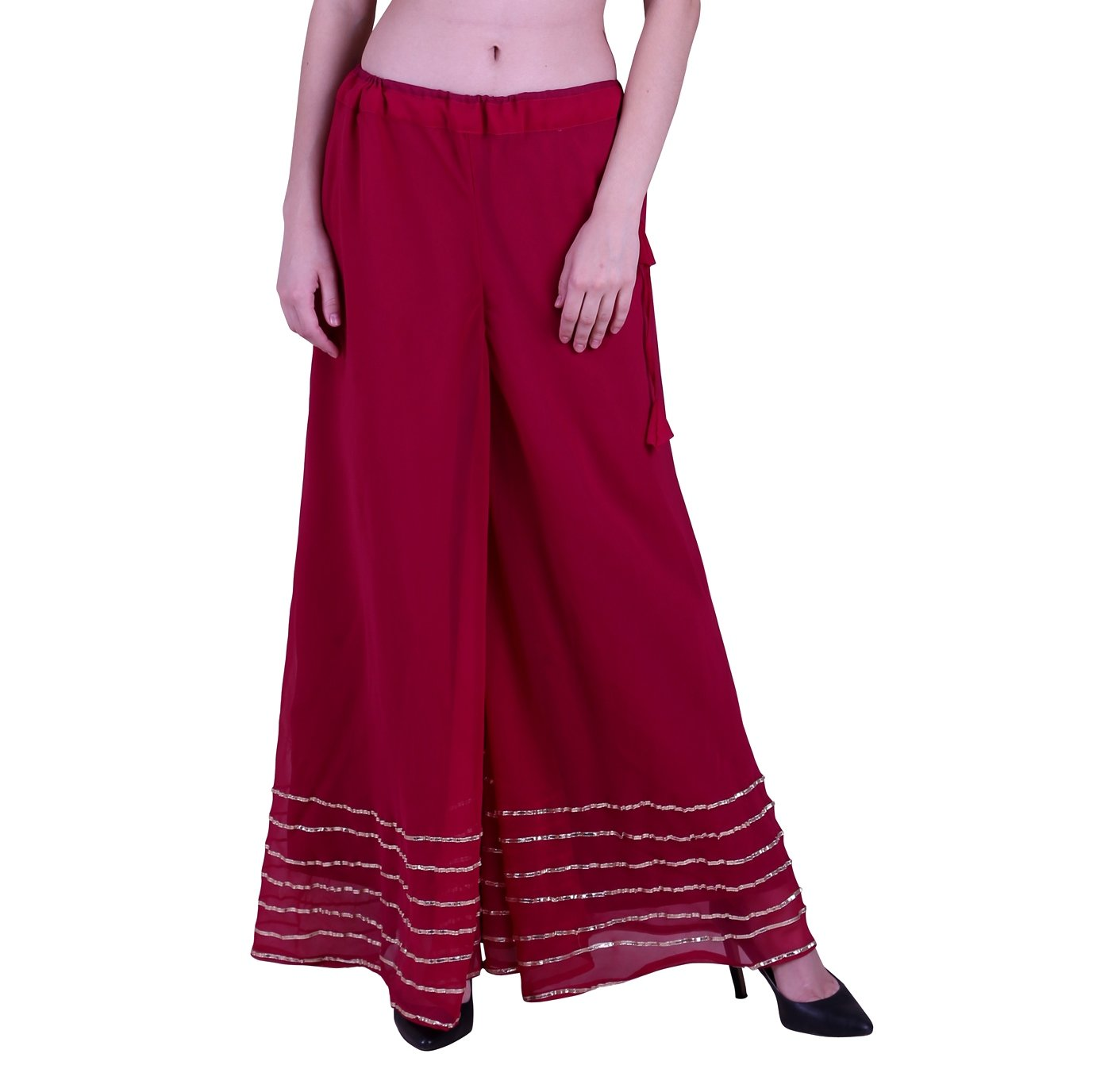 Shararat Women's Palazzo Pant Georgette Loose Wide Lace Work High Waist Sharara
