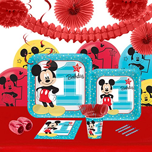 Disney Mickey Mouse 1st Birthday Party Supplies - Tableware and Decoration Party Pack for 16 Guests]()