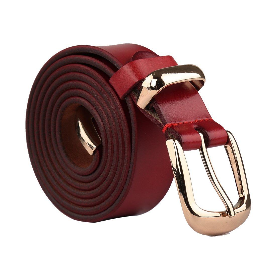 uxcell Women Skinny Belt Metal Side Imitation Leather Pin Buckle 1 1/8'' Burgundy