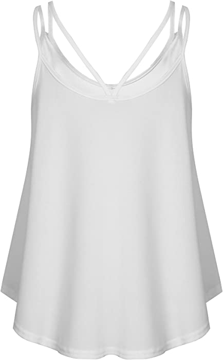 8bbb5950d6de5b Yeyemet White Spaghetti Strap Tank Top Cotton Great for Layering Cami Women  Camisole Shirt Feminine Strength