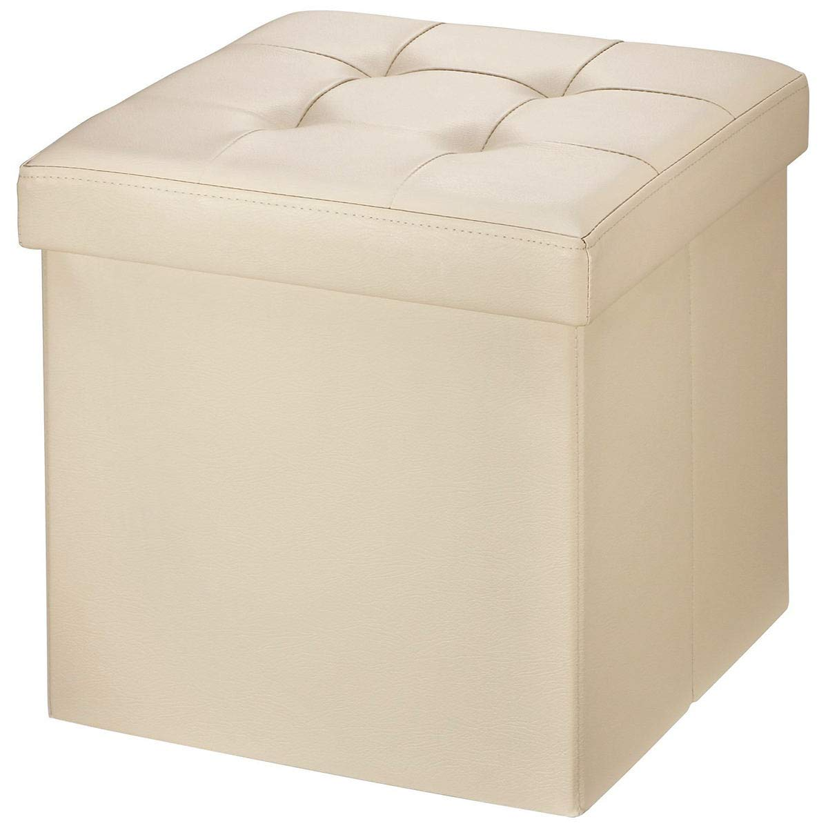 15X15X15 Beige BRIAN /& DANY Faux Leather Folding Storage Ottoman Bench Seat Foot Rest Stool Coffee Table
