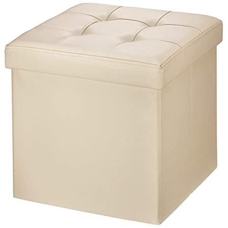 BRIAN DANY Faux Leather Folding Storage Ottoman Bench Seat Foot Rest Stool Coffee Table 15 X15 X15 Beige