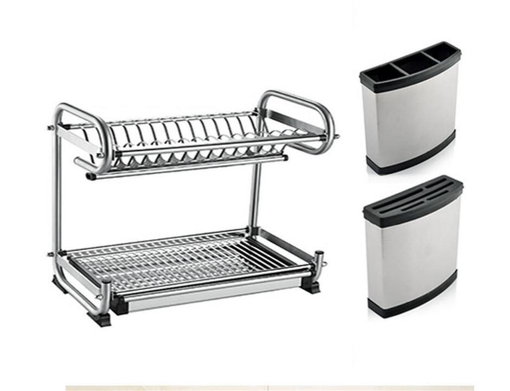 FAFZ-étagères de cuisine Égoutter égouttoir rack en rack double plat en acier inoxydable pour sécher la vaisselle