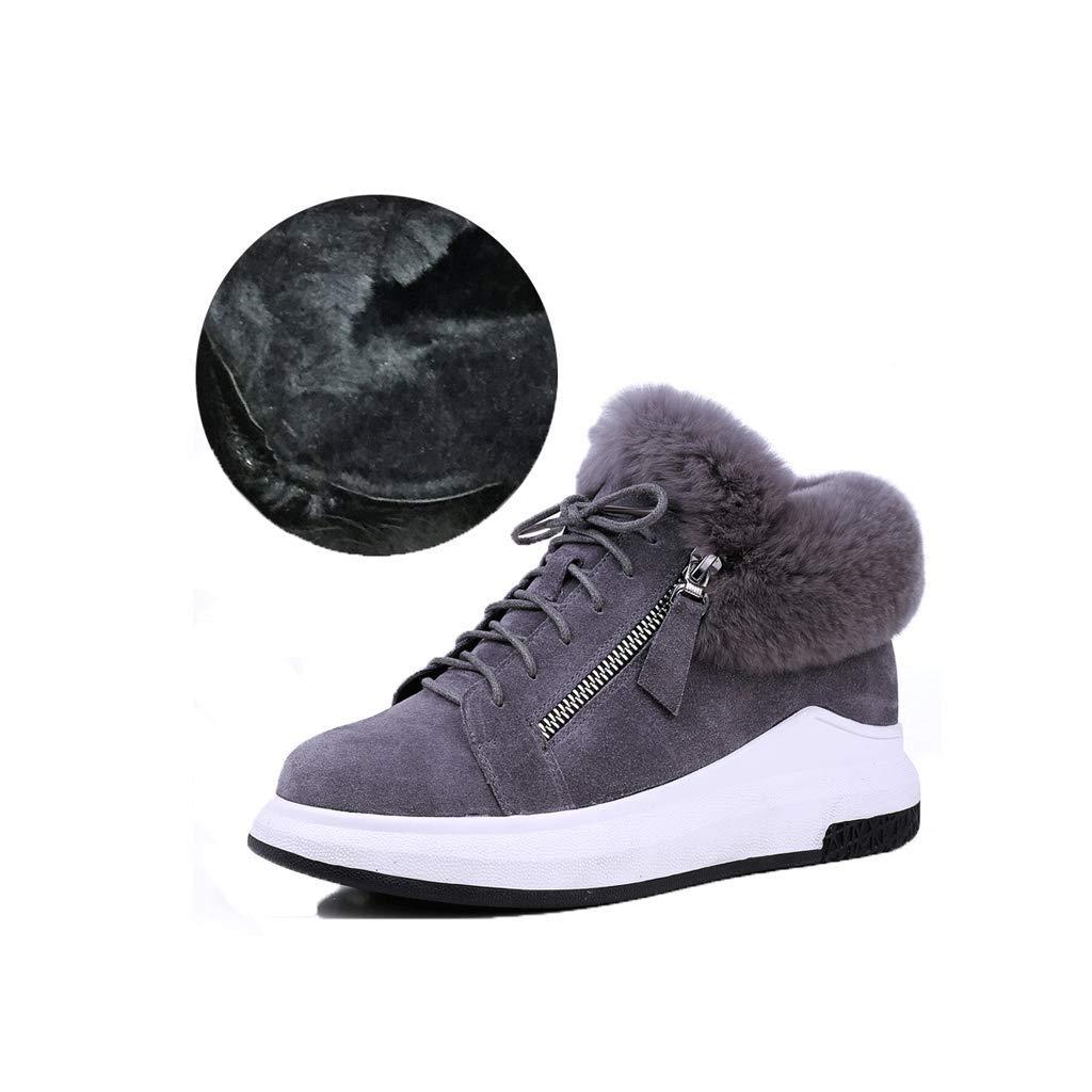 1 ailj Snow Boots, Ladies Outdoor Leather Warm Boots Thick Velvet Short Boots Non-Slip Flat Cotton Boots Two Models (2 colors) (color   2, Size   37 EU 5 US 4 UK 23.5cm JP)