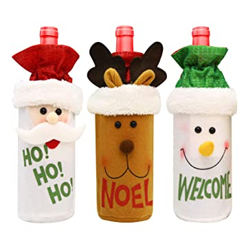 Wine & Bottle Bags Shopping Bags & Baskets Christmas Party Wine Bottle Covers,3 Packs Santa Claus/Elk/Snowman Wine Dress,Xmas Wine Bag for Beer Water Decorations,Christmas Ornament for Party Table Decor Favors Party Supplies Kit