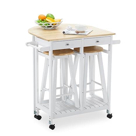 New Rolling Kitchen Island Trolley Cart Storage Dinning Table Stools Set  Oak Wood