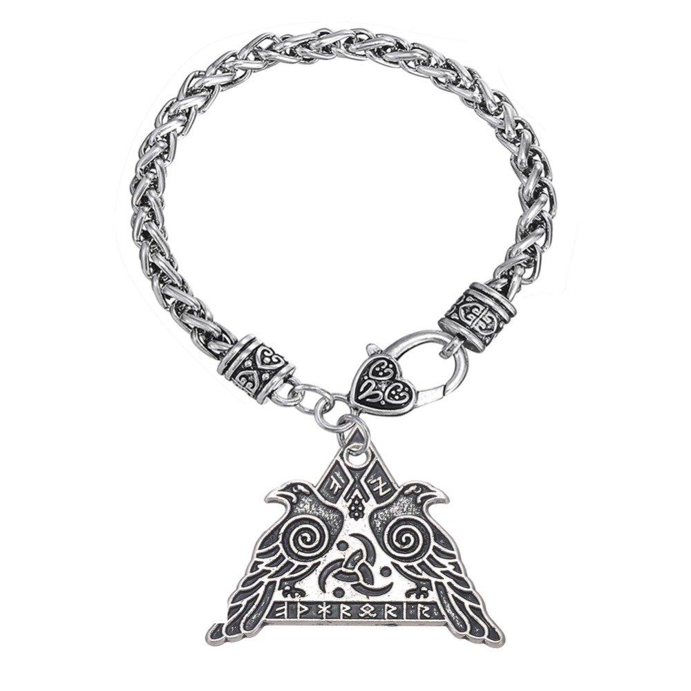 EUEAVAN Viking Runic Raven Valkyrie Amulet Runes Pendant Wheat Chain Bracelet