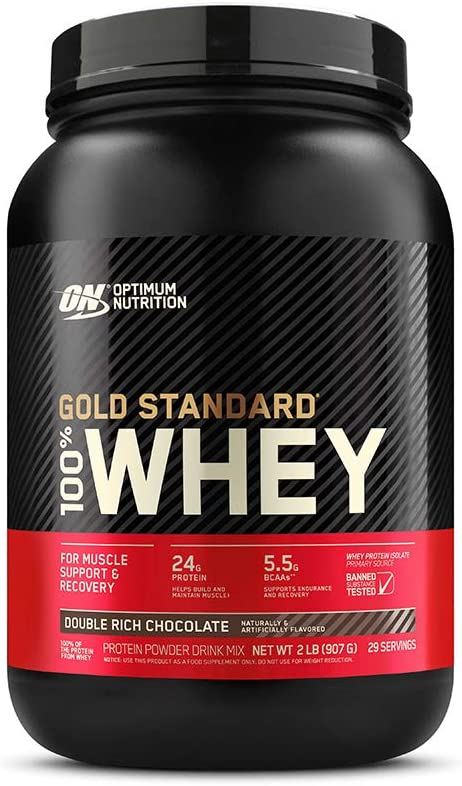 Optimum Nutrition Gold Standard 100 Whey Protein Powder, Double Rich Chocolate 2 Pound Packaging May Vary
