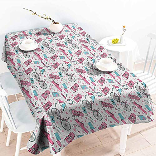 Willsd Small Rectangular Tablecloth,Bicycle Teenager Girls Hipster Pink Casual Shoes Bicycle Birds Headphones Glasses Camera,Fashions Rectangular,W60X90L Multicolor