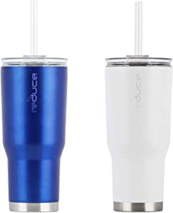Reduce Cold-1 Tumbler with Lid & Straw, 24oz – Stainless Steel, Sweat-Proof Body – Cupholder Friendly, Perfect for Water and Coffee – Blue & White