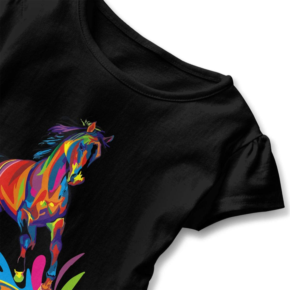 SHIRT1-KIDS The Color of Horses Childrens Girls Short Sleeve T-Shirts Ruffles Shirt Tee for 2-6T
