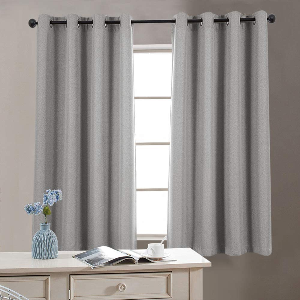 Vangao Grey Linen Textured Curtains for Bedroom 54 inches Long Room Darkening Window Curtain Grommet Light Reducing Drapes Living Room Curtain, 1 Pair Gray