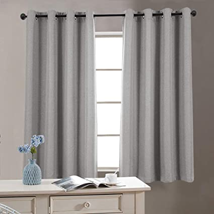 jinchan Faux Linen Grommet Room Darkening Curtains Bedroom Linen Textured  Blackout Curtains Living Room Curtain Panel (1 Pair, 63 Inch, Soft Gray)